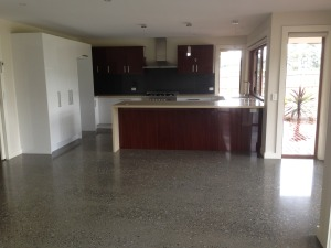 Stunning polished concrete flooring, classic design open plan kitchen and dining space